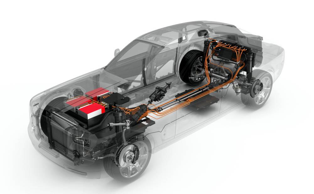 rolls-royce phantom, rolls-royce, phantom, samochód elektryczny, napęd elektryczny, bateria, akumulator